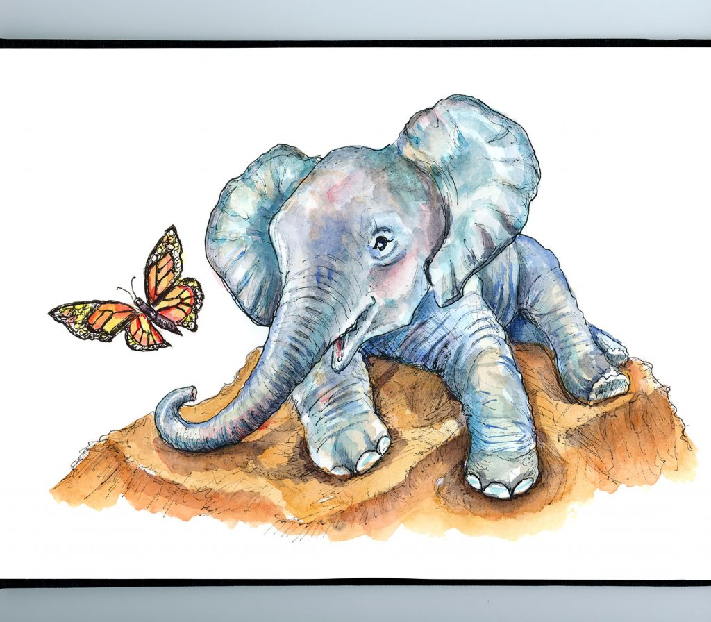 Baby Elephant And Butterfly Monarch Watercolor Painting Illustration Sketchbook Detail