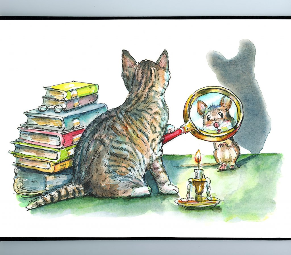 Cat And Mouse Game Magnifying Glass Mystery Books Watercolor Painting Illustration Sketchbook Detail