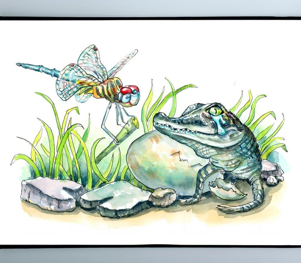 Crocodile Tears Baby Alligator Dragonfly Watercolor Painting Illustration Sketchbook Detail