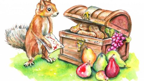 Squirrel Finding Treasure Map Chest Fruit Nuts Watercolor Painting Illustration