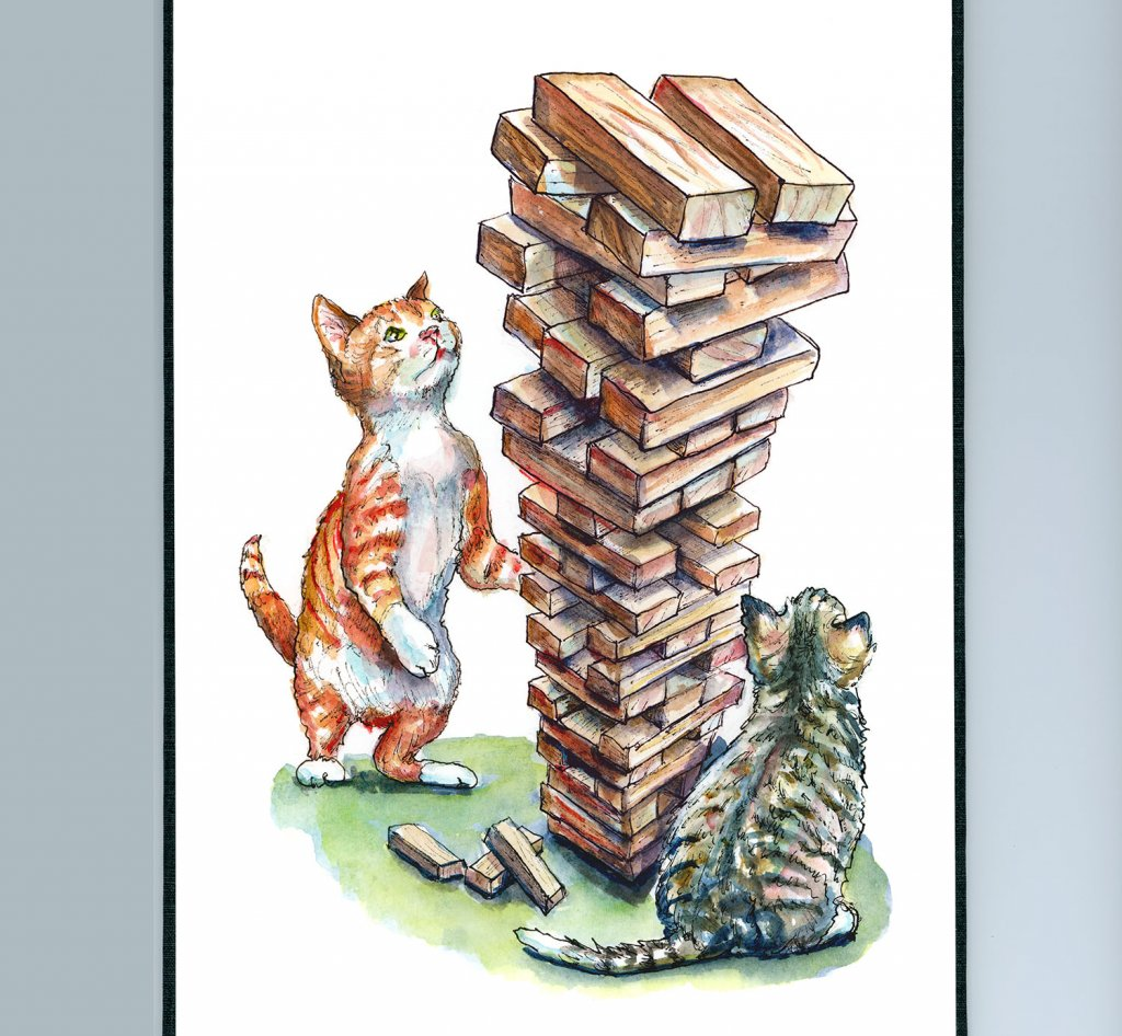 Kittens Playing Jenga Wooden Blocks Game Watercolor Painting Illustration Sketchbook Detail