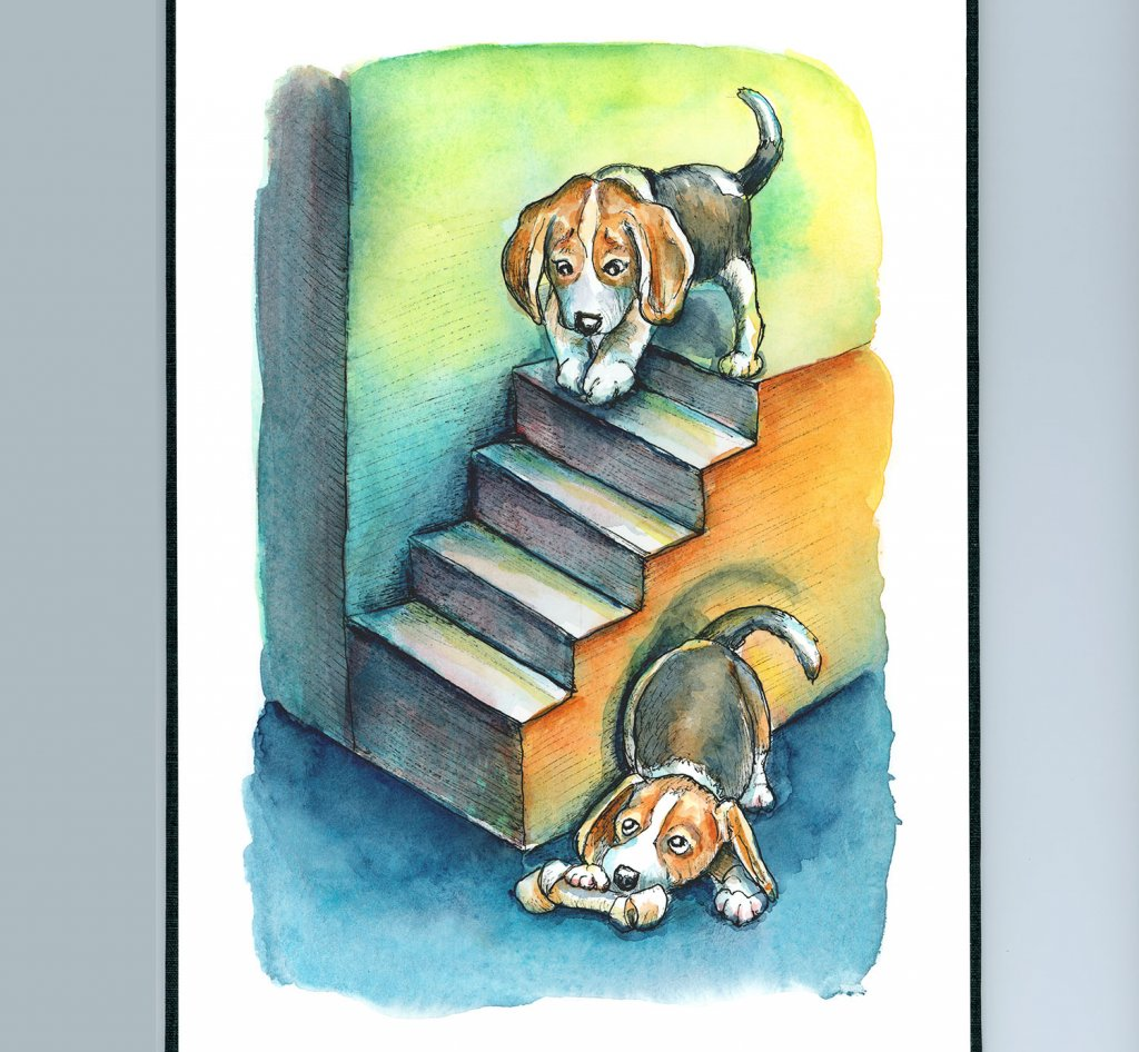 Dogs Beagle Puppies Playing Hide And Seek Watercolor Painting Illustration Sketchbook Detail