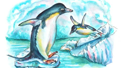 Penguins Playing On Iceberg Watercolor Painting Illustration