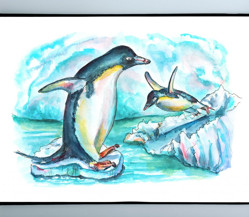 Penguins Playing On Iceberg Watercolor Painting Illustration Sketchbook Detail