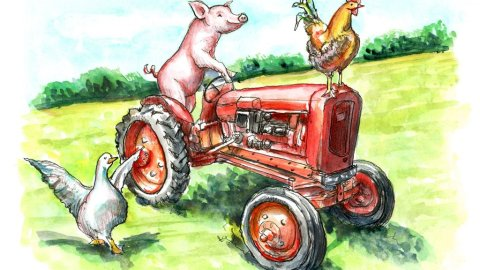 Pig Riding Tractor Rooster Goose Farm Watercolor Painting Illustration