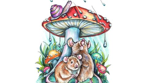 Two Mice Under Mushroom Hiding From Rain Storm Watercolor Painting Illustration