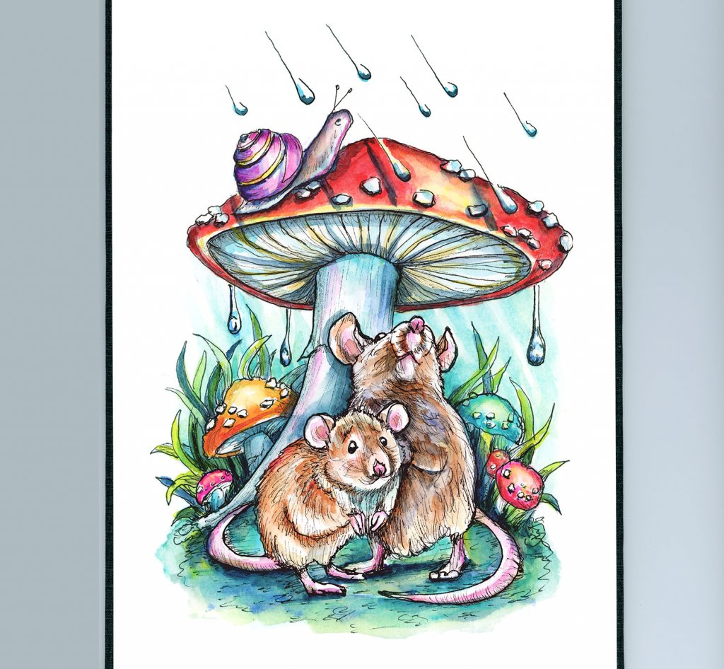 Two Mice Under Mushroom Hiding From Rain Storm Watercolor Painting Illustration Sketchbook Detail