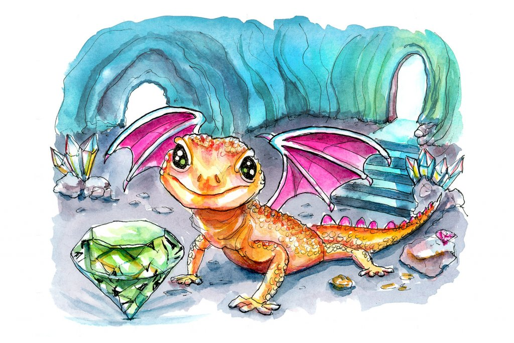 Tiny Dragon Emerald Crystal Cave Watercolor Painting Illustration