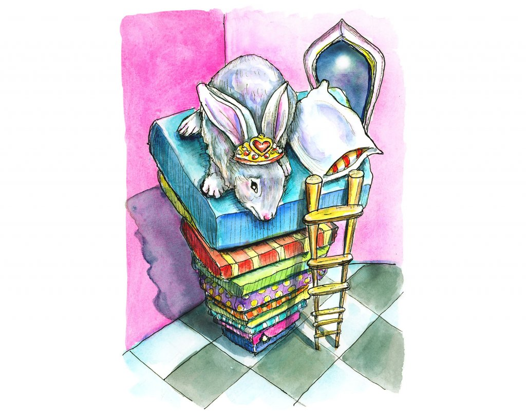 Princess And The Pea Bunny Rabbit Watercolor Painting Illustration