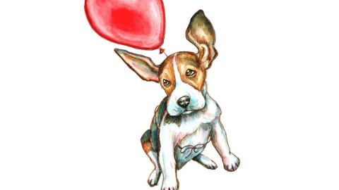 Beagle Dog Flying Floating Red Balloon Watercolor Painting Illustration