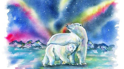 Polar Bear Mother Baby Northern Lights Watercolor Painting Illustration