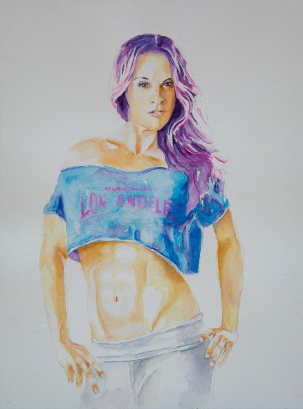 Jennifer in Purple Hair watercolor by Lavonne Cookman