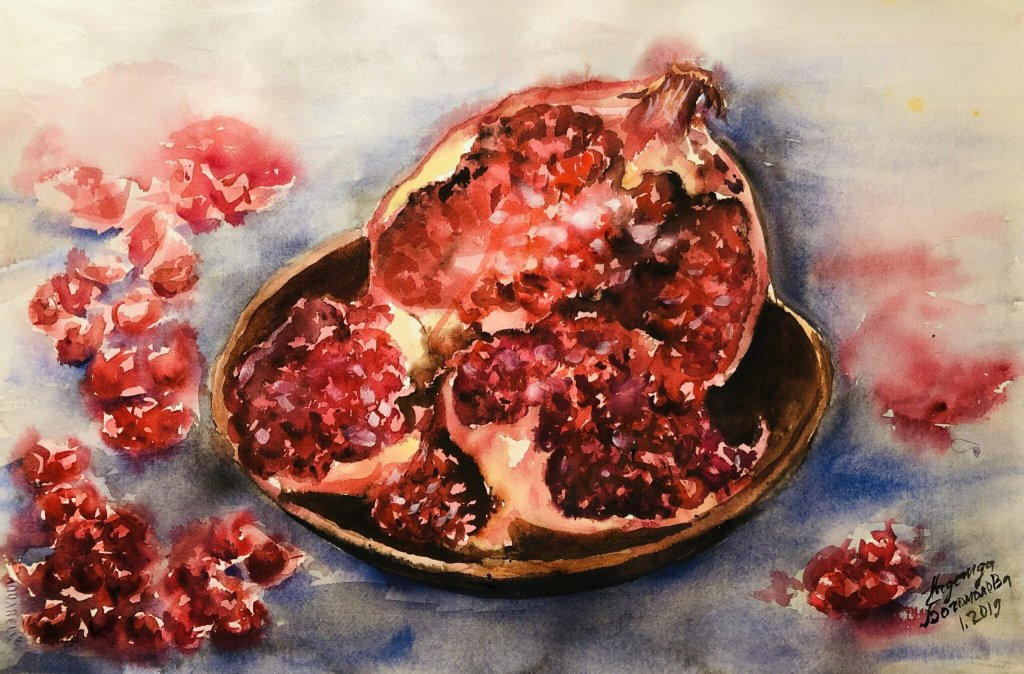 Watercolor Painting Pomegranate-1-scaledSummer-landscape-1-scaled
