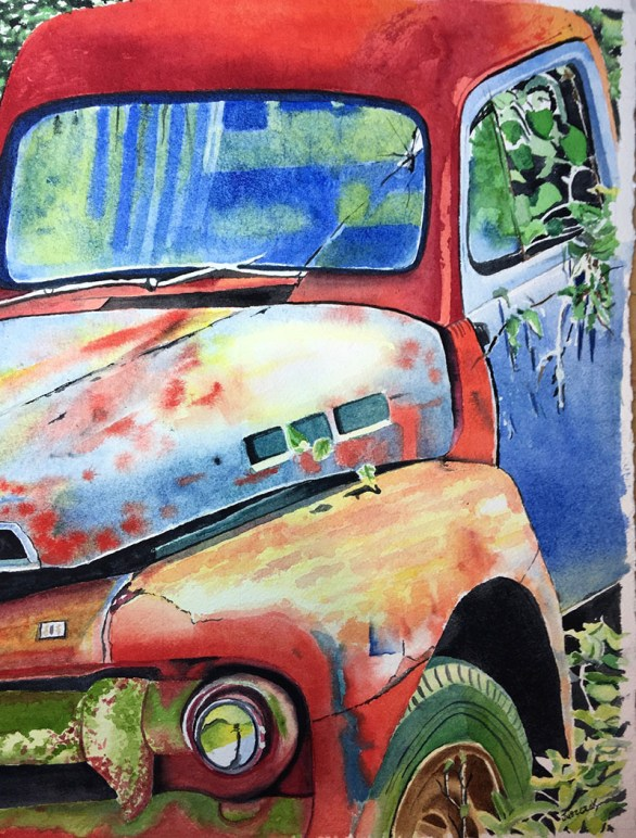 Rusted Truck Realistic Watercolor Painting by Gail Juszczak