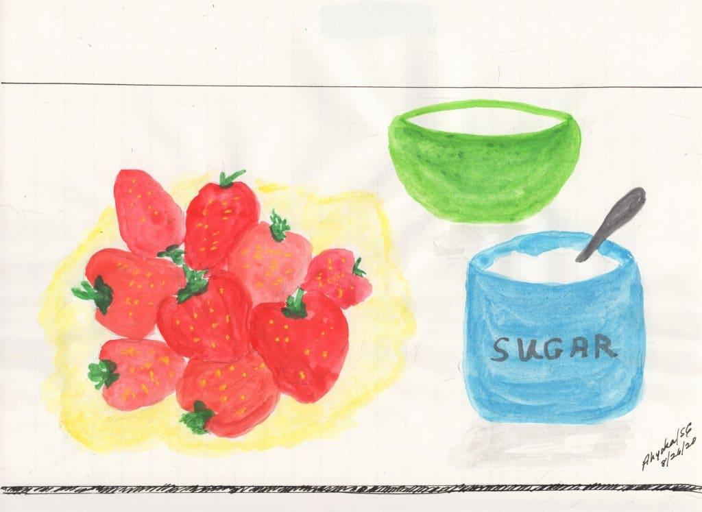 SUMMERTIME TREAT — Watercolor STRAWBERRIES & SUGAR