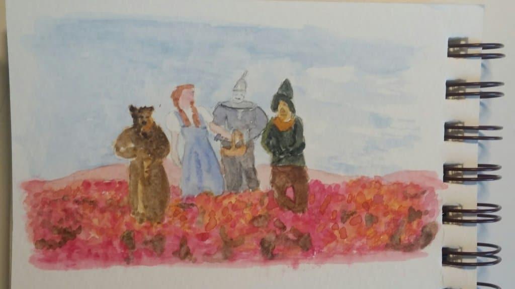 Prompt: Poppy Dorothy et al. in the poppy field from the Wizard of Oz Wiz of Oz