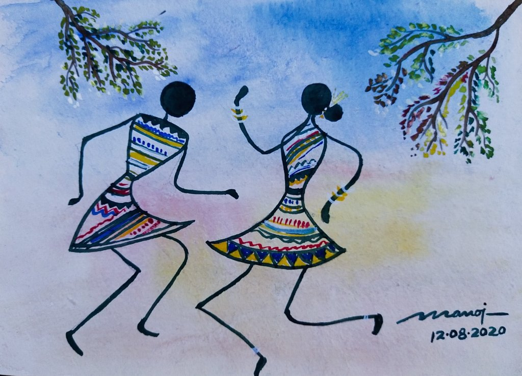 Dt: 12.08.2020 Sub: DANCE Watercolor painting on handmade paper inbound1133527694246275532