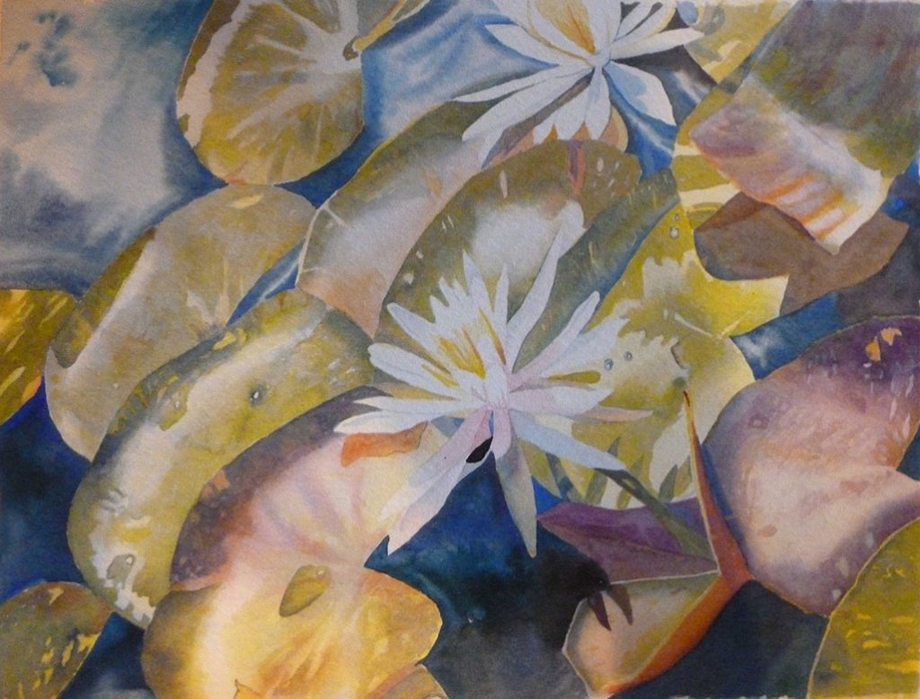 water lilly watercolor Painting by Gail Juszczak