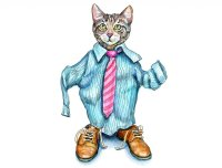 Playing Dress Up Cat Wearing Shirt Tie Shoes Watercolor Painting Illustration
