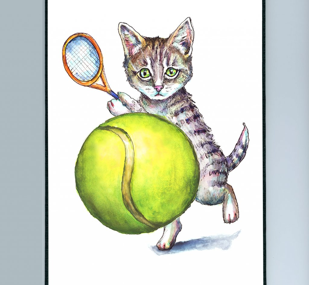 Kitten Cat Playing Tennis Ball Watercolor Painting Illustration Sketchbook Detail