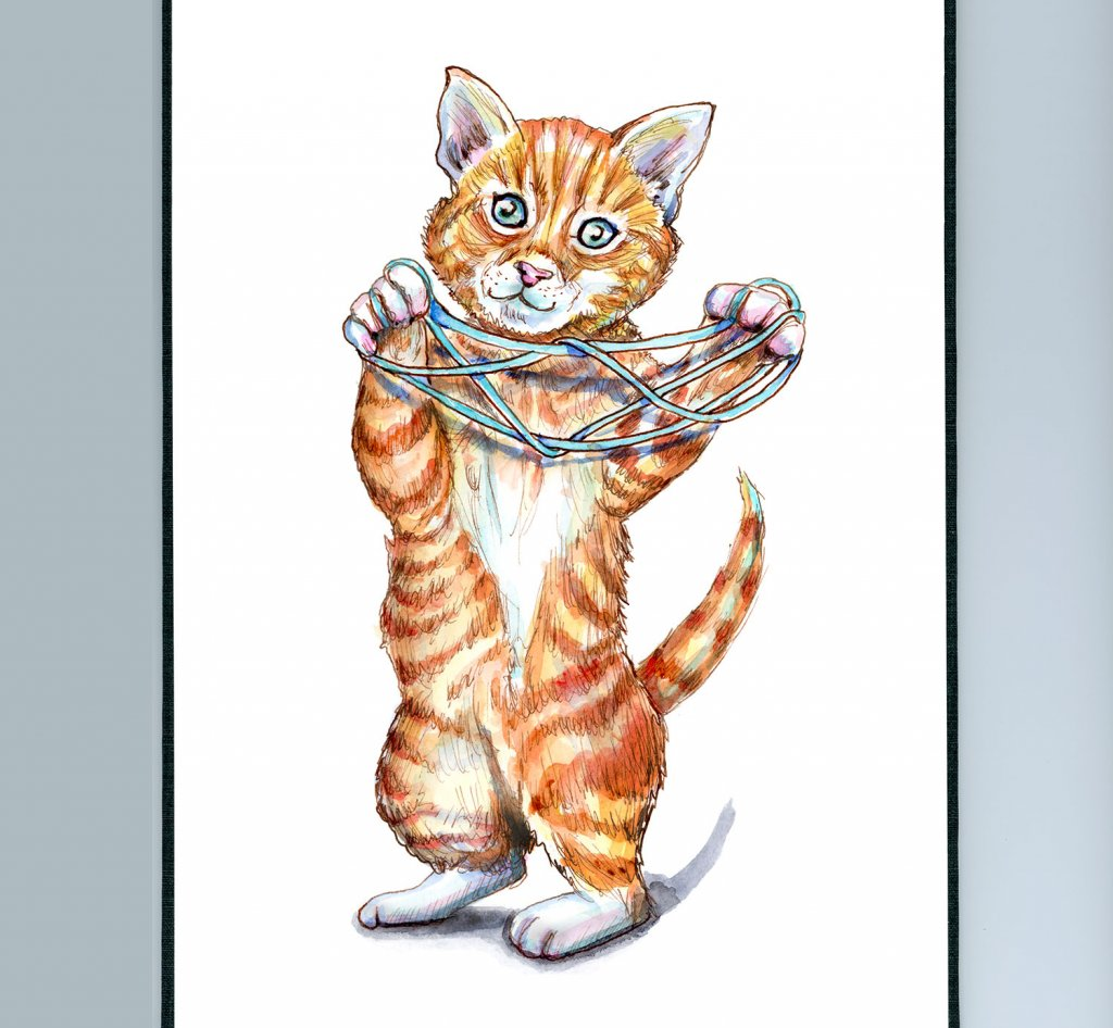 String Game Cats Eye Kitten Childhood Games Watercolor Painting Illustration Sketchbook Detail