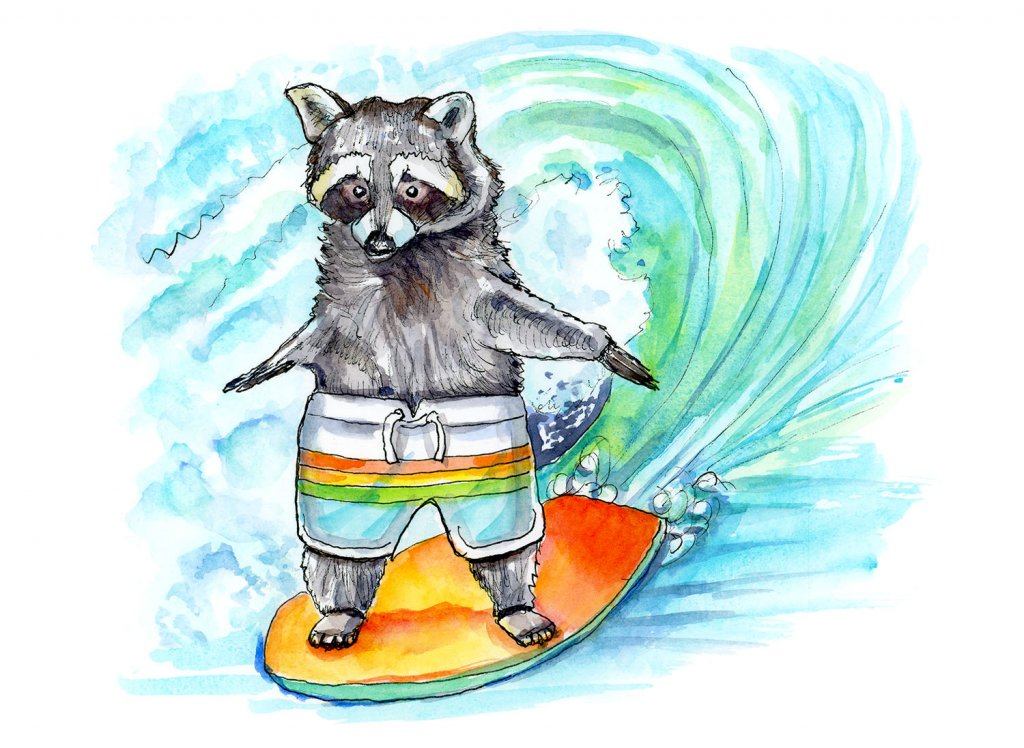 Raccoon Riding Surfboard Watercolor Painting Illustration