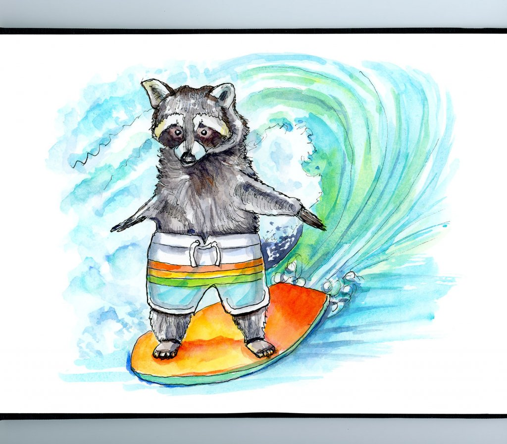 Raccoon Riding Surfboard Watercolor Painting Illustration Sketchbook Detail