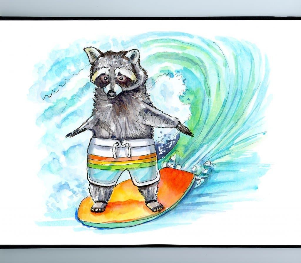Raccoon Riding Surfboard Watercolor Painting Illustration Sketchbook Detail