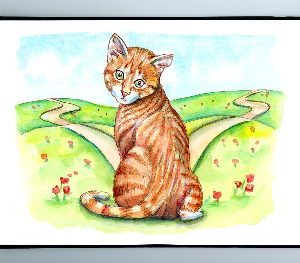 Fork In The Road Cat Kitten Ginger Tabby Watercolor Painting Illustration Sketchbook Detail