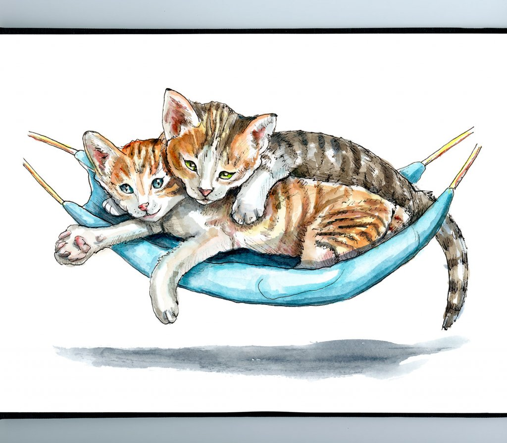 Two Cats In A Hammock Watercolor Painting Illustration Sketchbook Detail