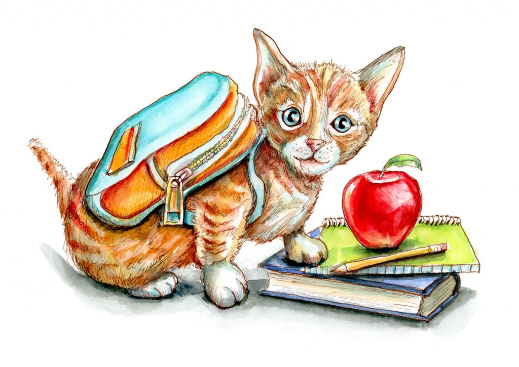 Kitten Wearing Backpack First Day Of School Supplies Watercolor Painting Illustration