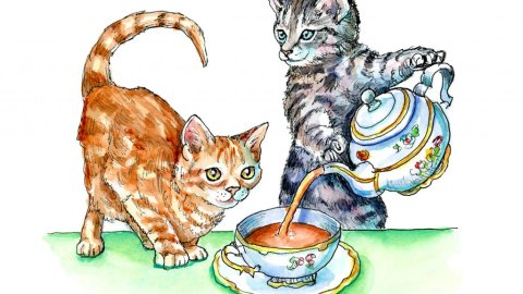 Tea Time For Tabby Cat Kitten Watercolor Painting Illustration