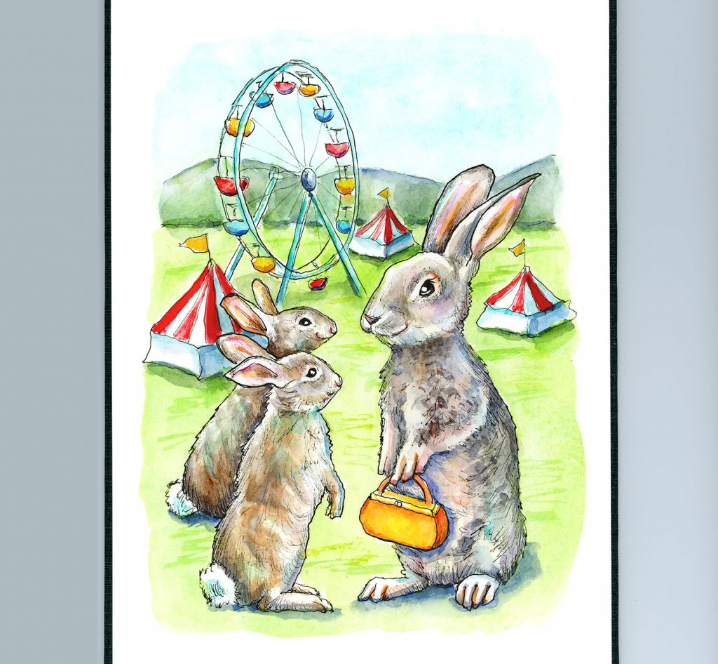 County Fair Ferris Wheel Tents Rabbit Family Watercolor Painting Illustration Sketchbook Detail