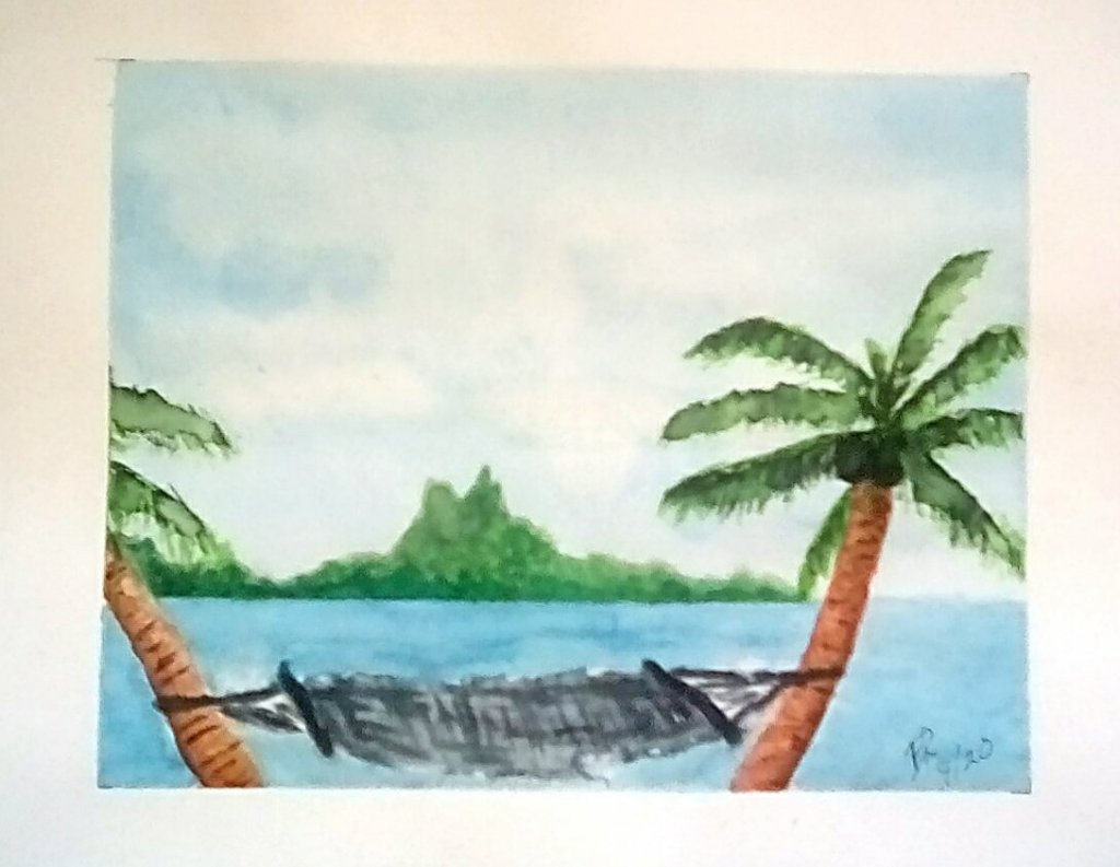 """Today's watercolor challenge """"Vacation"""" . Bora Bora where we spent our vacation an"""