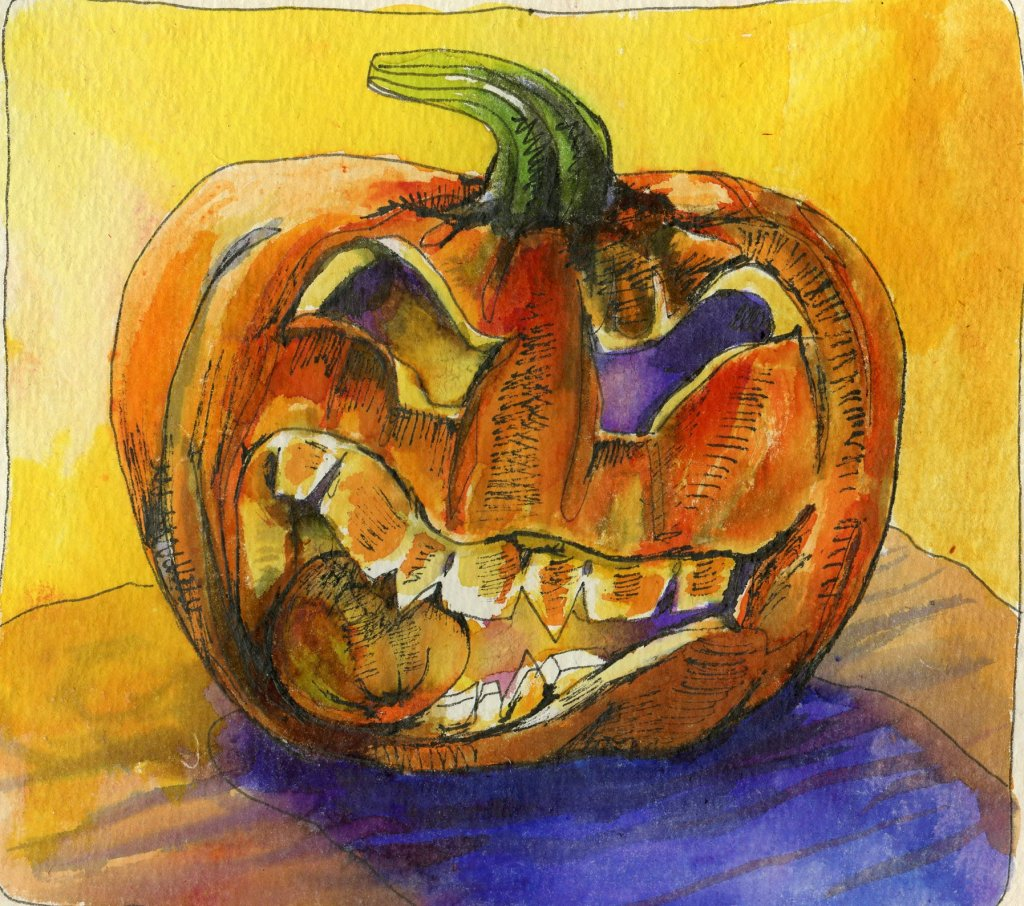 Watercolor Pumpkin painted with Viviva Colorsheets watercolor