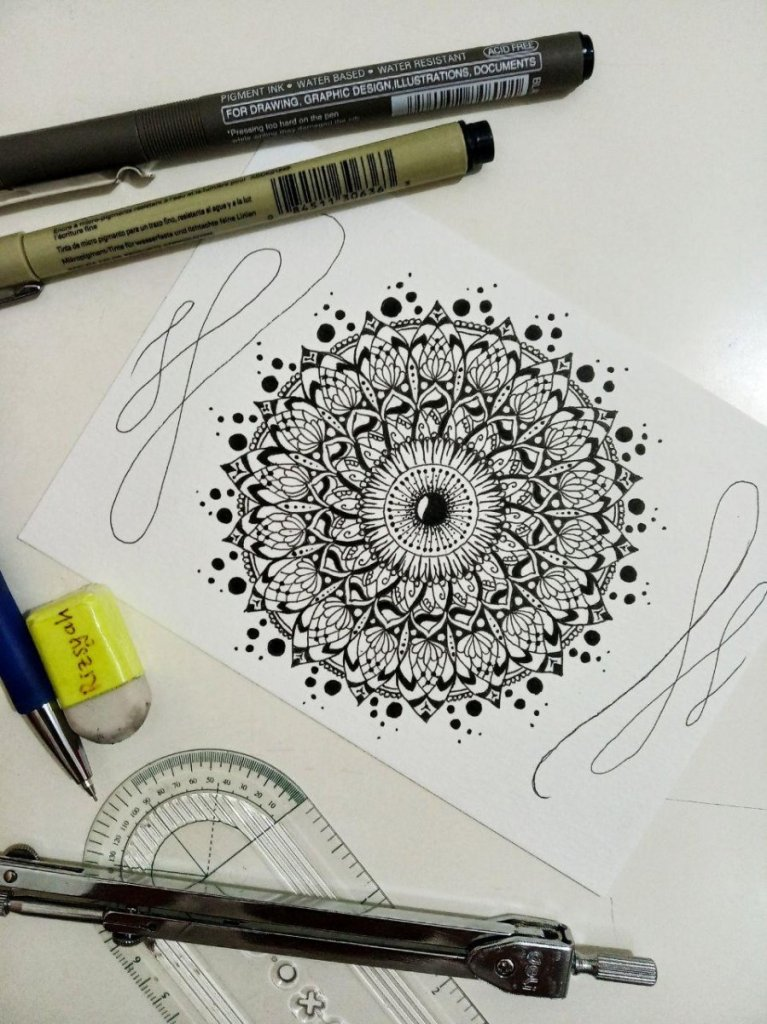 Making my first mandala Teknik menggambar Stilasi Siti Hawariz Syah