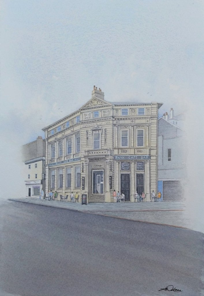 """ The Old Bank "", Torquay, England. Andrew Lucas Watercolour, 33 x 23 cm, I hope you enj"