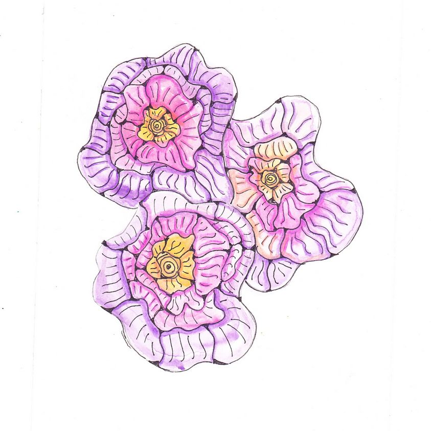 While on holiday i made spot of my favorite coulors , pink and purple, with watercolours. Later i dr