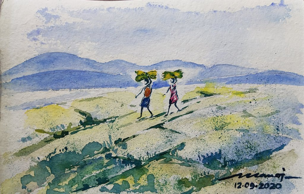 Dt.12.09.2020 Sub: Harvest Watercolor painting on handmade inbound8915999180387696511