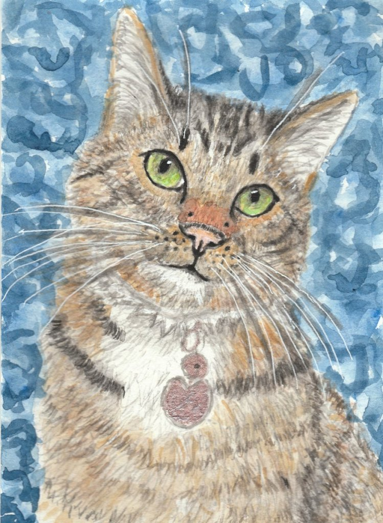 Portrait of my Taby cat Felix watercolor painting ujhyyyy