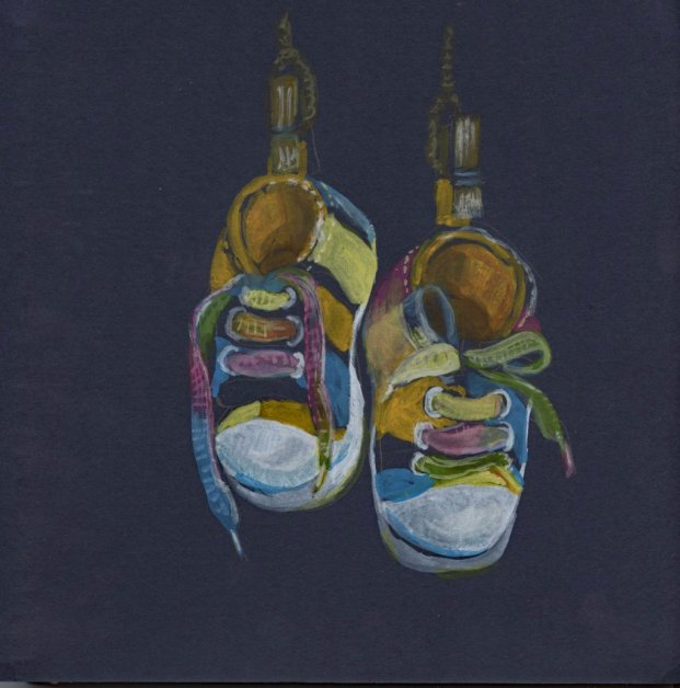 Baby's New Shoes-Gouache on Cover of 303-St Louis Art Supply Watercolor Journal Sandra Strait