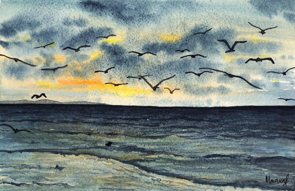 Birds in the Sky Watercolor Painting by Maureen Fletcher