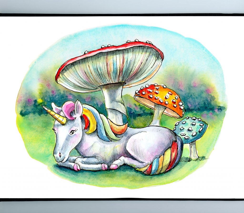 Tiny Unicorn Storybook Mushrooms Fly Agaric Watercolor Illustration Painting Sketchbook Detail
