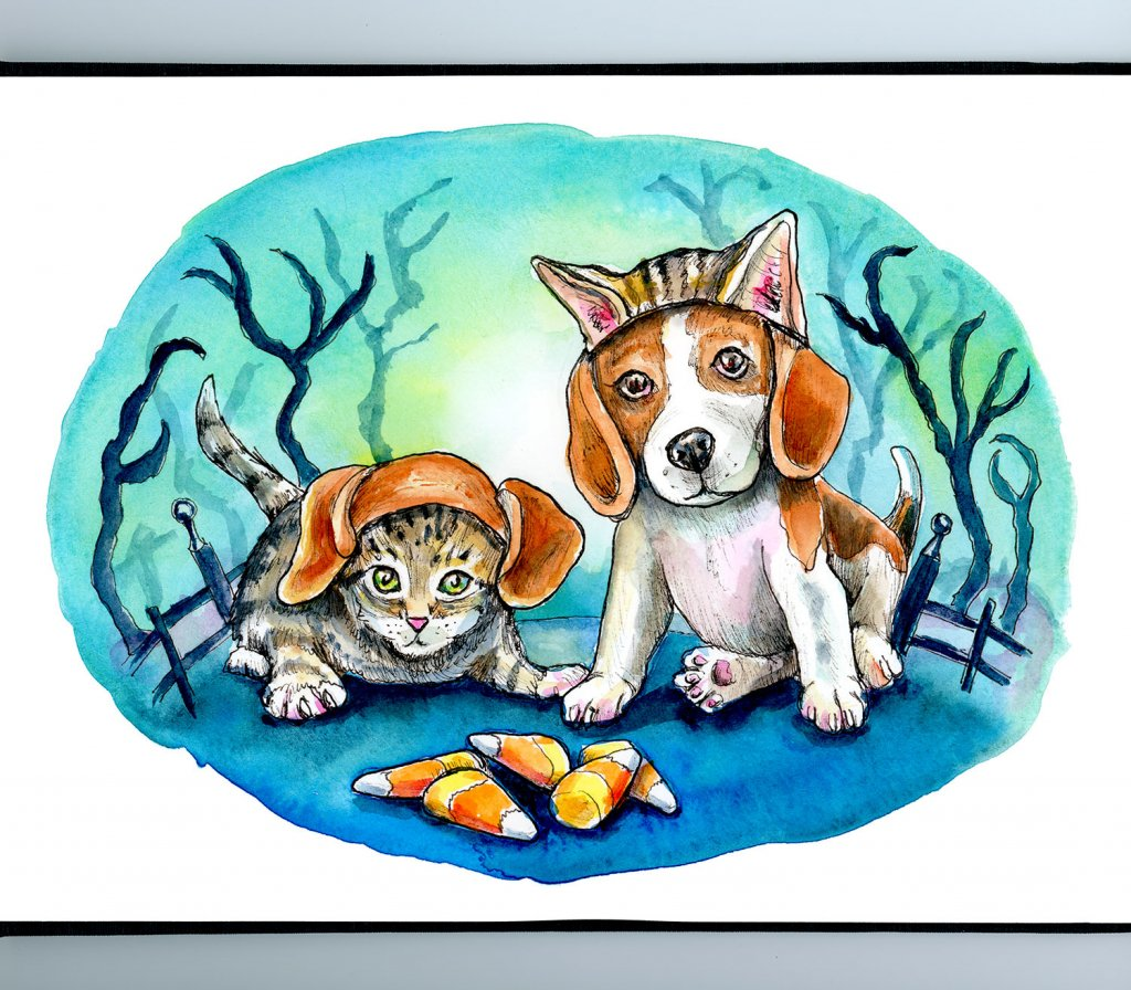 Kitten And Puppy Beagle Dog Costume Halloween Candy Corn Watercolor Illustration Painting Sketchbook Detail