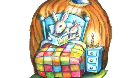 Bedtime Storybook Rabbits Bunnies Reading Books In Bed Watercolor Illustration Painting