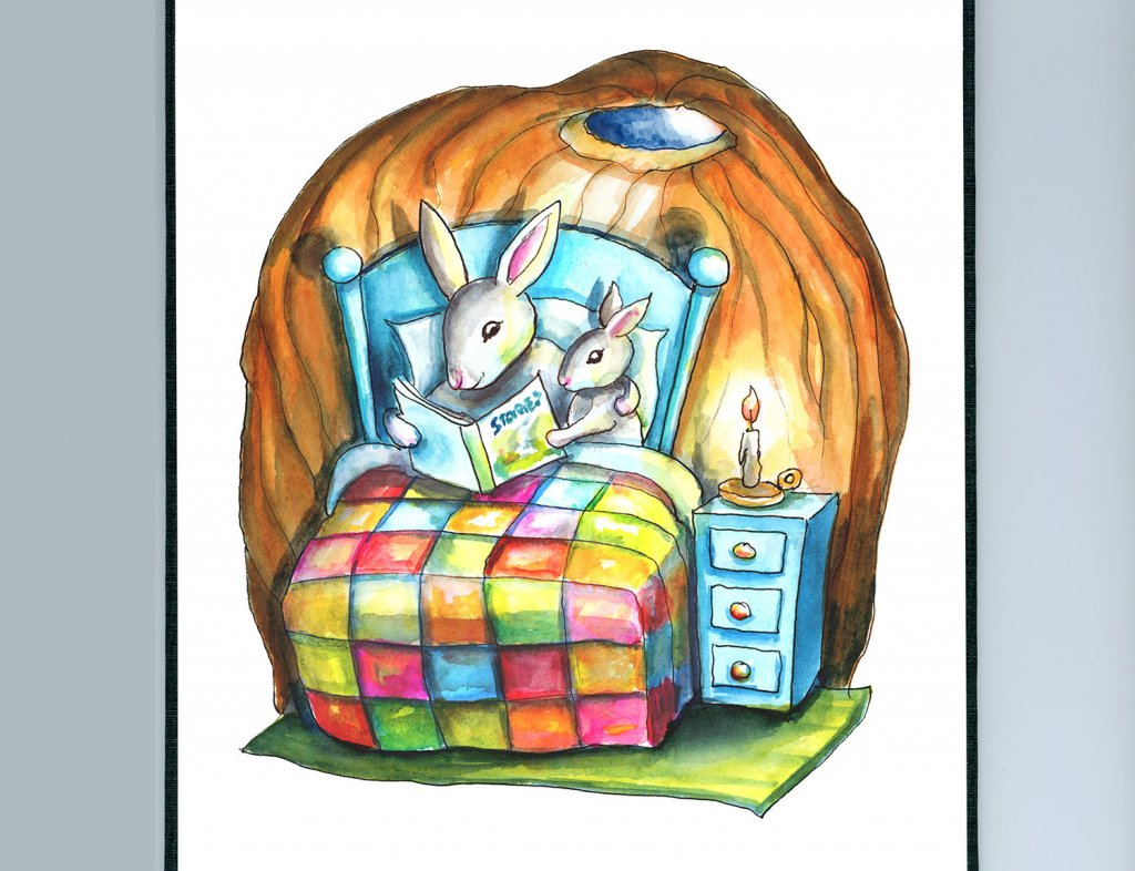 Bedtime Storybook Rabbits Bunnies Reading Books In Bed Watercolor Illustration Painting Sketchbook Detail