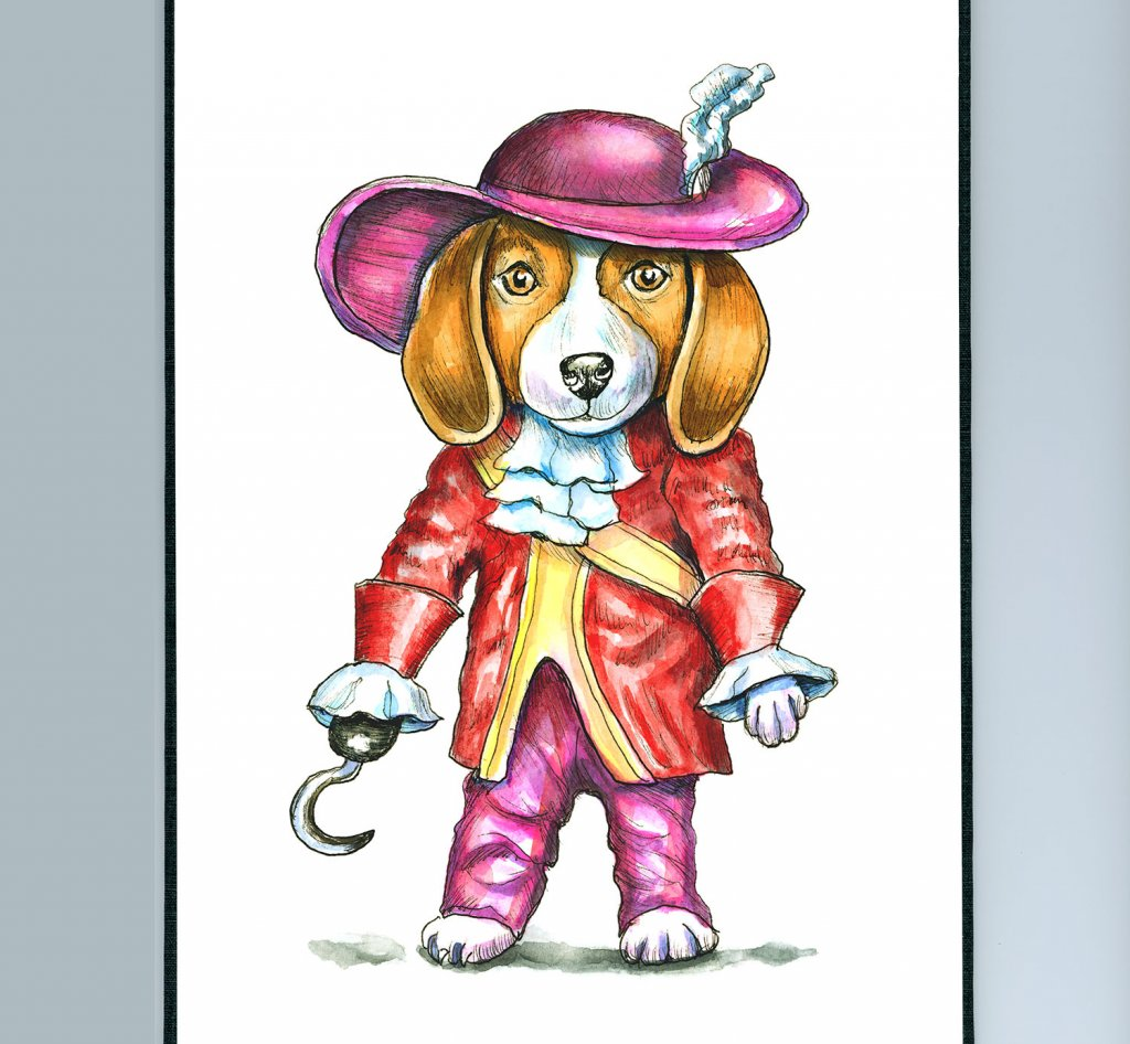 Beagle Costume Dressed As Captian Hook Watercolor Illustration Painting Sketchbook Detail
