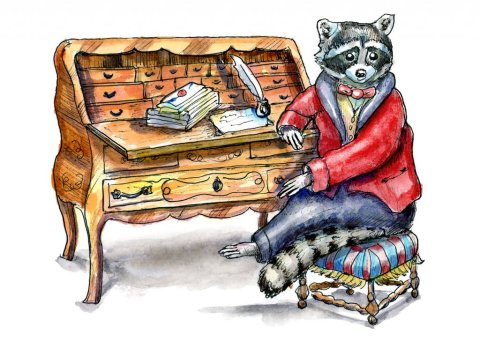 Raccoon Writing Letter Victorian Baroque Antique Desk Watercolor Illustration Painting