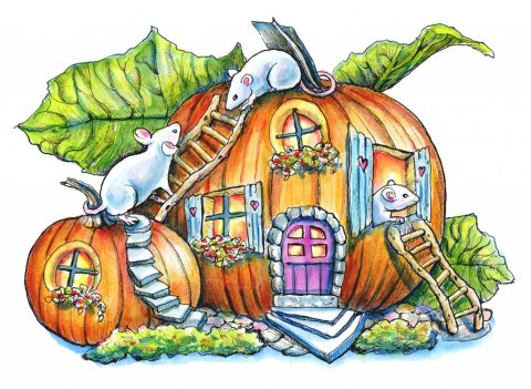 Mouse In Pumpkin Fairy House Halloween Watercolor Illustration Painting