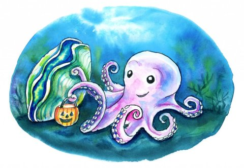 Cute Ghost Octopus Trick Or Treating Giant Clam Underwater Halloween Watercolor Illustration Painting